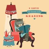猫坐在椅子的阅读书 免版税库存照片