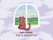 猫坐窗台 向量例证
