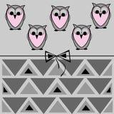 猫头鹰卡片、几何样式和弓 库存图片