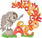 猫头鹰和字母表 免版税图库摄影