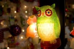 猫头鹰圣诞灯 免版税库存图片