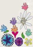 猫头鹰愉快的木犀属植物和Flowers_eps 免版税库存照片