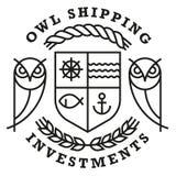 猫头鹰运输的商标模板 免版税库存图片