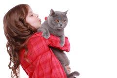 猫女孩一点 库存照片