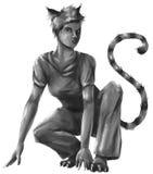 猫女孩剪影 免版税库存图片