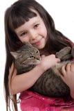 猫女孩她的年轻人 库存照片