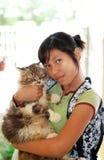 猫女孩她 免版税图库摄影