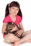 猫女孩宠物年轻人 图库摄影