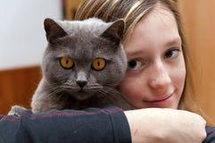 猫女孩 图库摄影