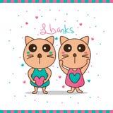 猫害羞的感谢 向量例证