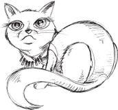 猫小猫剪影乱画 免版税库存图片