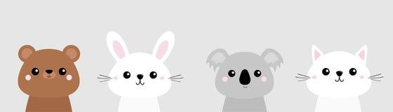 猫小猫,熊,兔子,野兔,北美灰熊,考拉顶头面孔集合 桃红色面颊 逗人喜爱的漫画人物 背景黑色关闭设计蛋炸锅衬衣t 宠物coll 皇族释放例证
