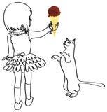 猫巧克力女孩冰淇凌 库存照片