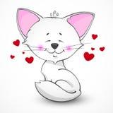猫恋人向量白色 免版税库存照片