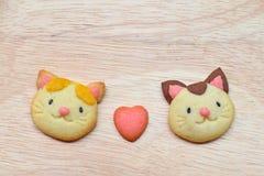 猫恋人曲奇饼 免版税库存照片