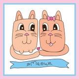 猫恋人逗人喜爱的框架 库存图片