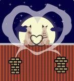 猫恋人顶房顶二 向量例证
