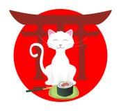 猫愉快的寿司 库存例证
