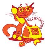 猫愉快的电话 库存照片