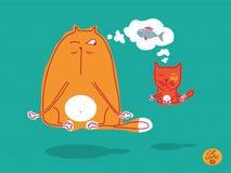 猫故事 套关于滑稽的猫的传染媒介例证 库存例证