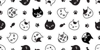 猫无缝的样式传染媒介小猫爪子鱼白棉布品种万圣节动画片围巾被隔绝的瓦片背景重复墙纸illustr 库存例证