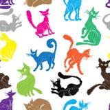猫无缝的样式 免版税库存照片