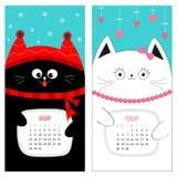 猫日历2017年 逗人喜爱的滑稽的动画片字符集 1月2月冬季 雪剥落,红色帽子,围巾 垂悬的桃红色心脏 免版税图库摄影