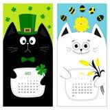 猫日历2017年 逗人喜爱的滑稽的动画片字符集 3月4月春天月 绿色帽子tye弓鸡鸡蛋 垂悬的三叶草叶子, 免版税库存图片