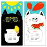 猫日历2017年 逗人喜爱的滑稽的动画片白色黑字符集 7月8月你好夏天月 冰淇凌,发光黄色的太阳, su 免版税库存照片