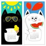 猫日历2017年 逗人喜爱的滑稽的动画片白色黑字符集 7月8月你好夏天月 冰淇凌,发光黄色的太阳, su 库存照片