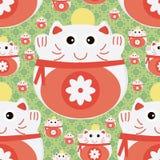 猫日本金钱无缝的样式 免版税库存照片