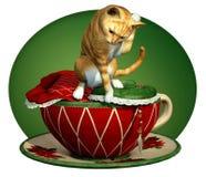 猫杯子n红色平纹 图库摄影