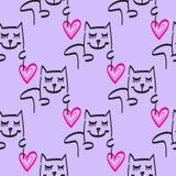 猫样式传染媒介手拉的例证 免版税库存照片