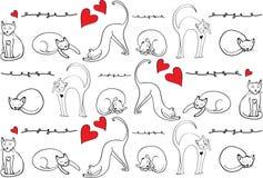 猫样式 在另外位置的手拉的猫与装饰元素 红色心脏和猫 释放拉长的元素 免版税库存图片