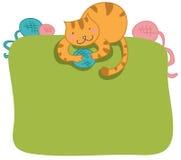 猫框架愉快的页 免版税库存图片