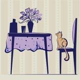 猫桌内部 图库摄影