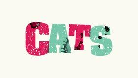 猫概念五颜六色的被盖印的词例证 库存图片