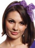 猫滑稽的女孩颊须 免版税图库摄影