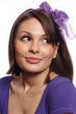 猫滑稽的女孩颊须 免版税库存图片