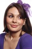 猫滑稽的女孩颊须 库存图片