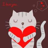 猫灰色爱 免版税库存图片