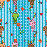猫熊老鼠狗青蛙兔子垂直的无缝的样式 免版税图库摄影