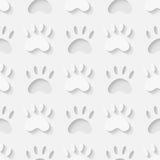 猫爪子剪影无缝的样式 免版税库存图片