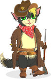 猫牛仔 警长狂放的西部 免版税库存图片