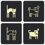 猫狗图标符号向量 免版税库存照片