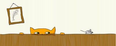 猫狩猎鼠标 免版税库存图片