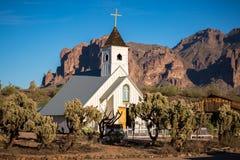 猫王教堂,迷信山在亚利桑那 免版税图库摄影