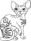 猫的传染媒介例证 猫的黑白画象 风格化加拿大人Sphynx 库存例证