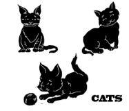 猫的传染媒介剪影 库存例证