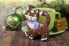 以猫的形式圣诞节曲奇饼 库存照片
